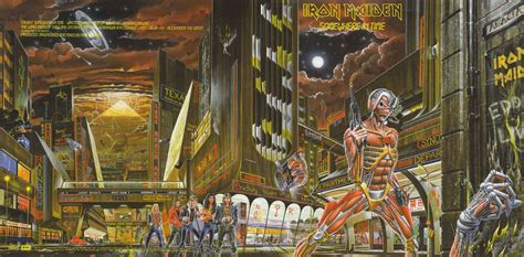 Kaos Musik Imn 07 Iron Maiden Ironmaiden album covers somewhere in time by iron maiden 1986 2 warps to neptune