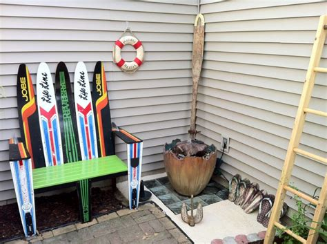 water ski bench rustic water element and water ski bench around the