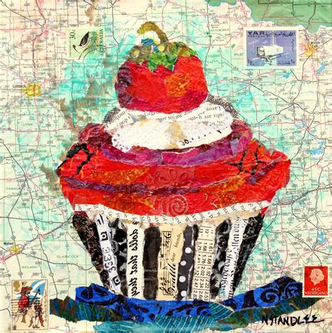 Paper Collage - collage cupcake painting quot dear friends quot mixed media