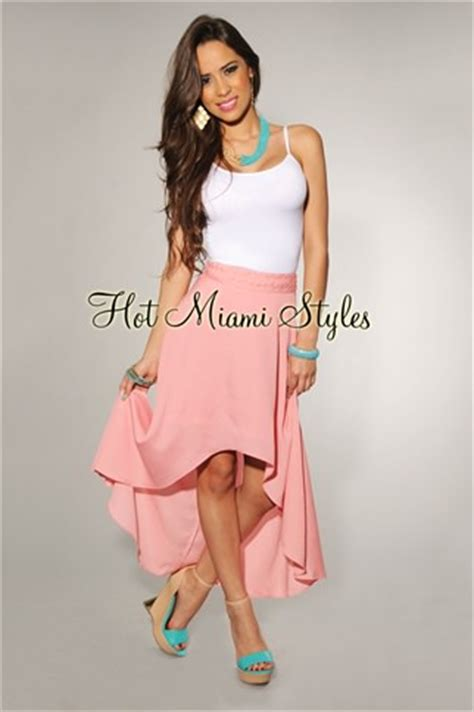 light pink woven waist high low skirt