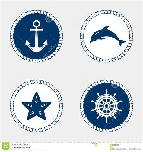 nautical design marine symbol nautical design elements stock vector