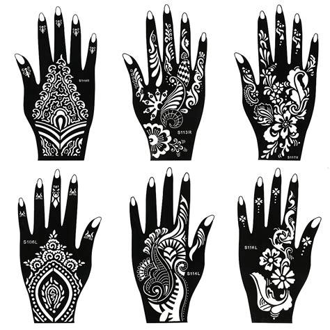 henna tattoo hand stencils bmc 8pc mehndi henna part kit 2 color cones