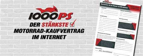 Kaufvertrag Motorrad Neu by 1000ps Motorrad Kaufvertrag Kostenloser Download