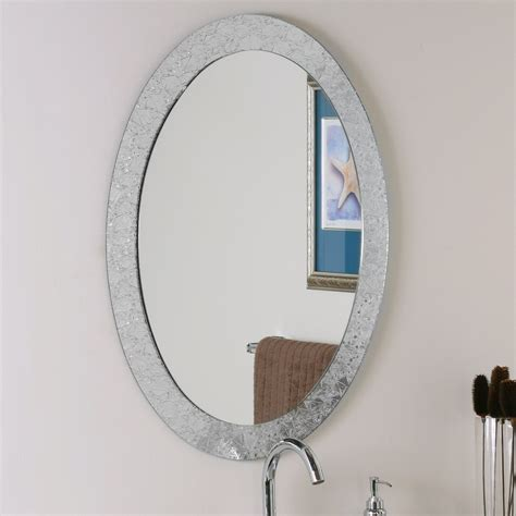 Wall Mirror Bathroom Decor Ssm5016 4 Luxor Frameless Oval Wall Mirror Atg Stores