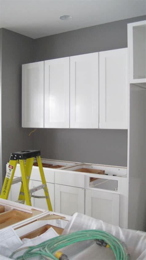 white cabinets gray walls i married a tree hugger kitchen is in columns are up
