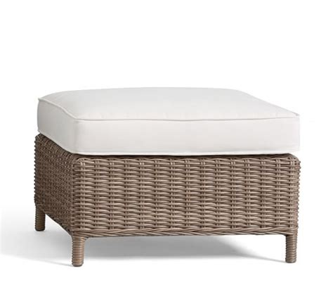 All Weather Wicker Ottoman Torrey All Weather Wicker Square Ottoman Pottery Barn