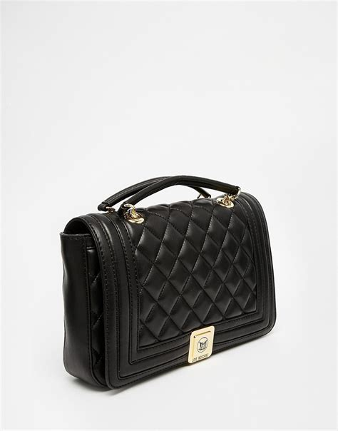 Quilted Shoulder Bags by Moschino Quilted Shoulder Bag With Chain In Black In Black Lyst