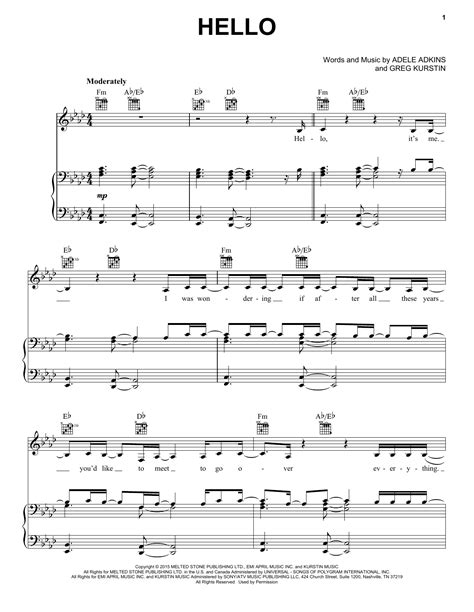 tutorial piano adele hello hello sheet music by adele piano vocal guitar right