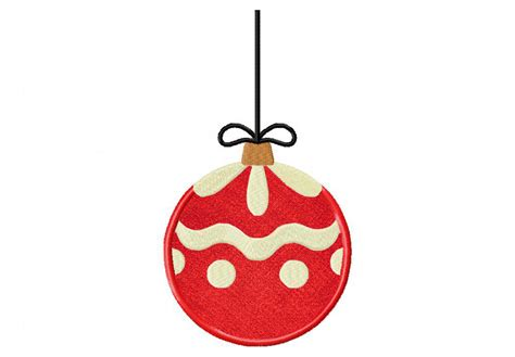 red christmas ornament includes both applique and stitched
