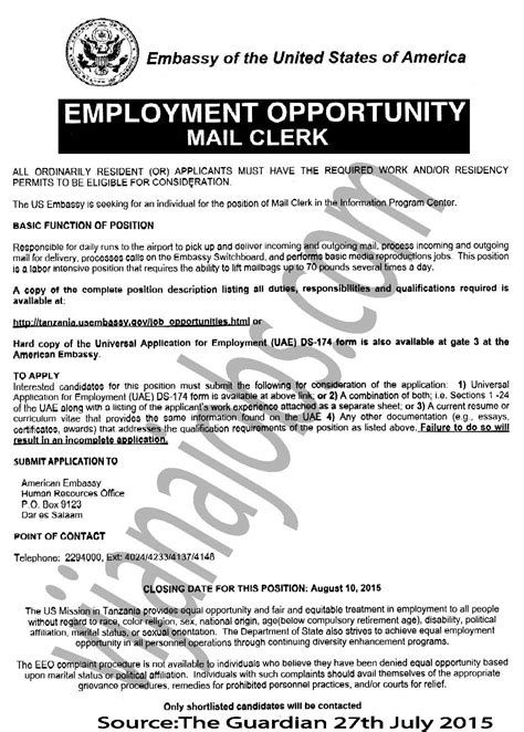mail clerk tayoa employment portal