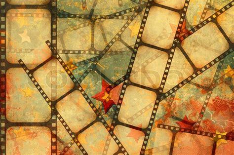 aged wallpaper with film strip border stock illustration grunge background film strip on a stars background
