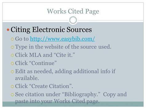 sle of works cited page mla style citations ppt