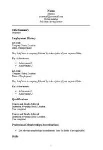 Simple Resume Template On Word Simple Cv Template In Word How To Write A Cv