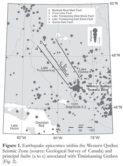 ontario geofish western quebec seismic zone part 2 ongoing neotectonic activity in the timiskaming kipawa