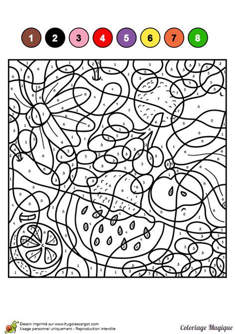 Dessin 224 Colorier D Un Coloriage Magique Cm1 Fruits En Coloriage Magique Francais Ce1 L