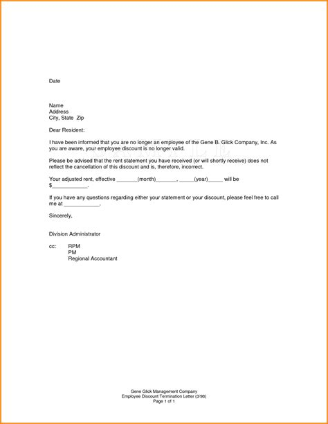 Letter For Rent Discount 11 Exit Letter For Employee Financial Statement Form
