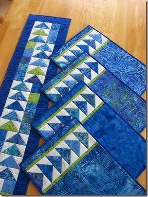Set Batik Blue geese across the table set in blue batiks pattern at www
