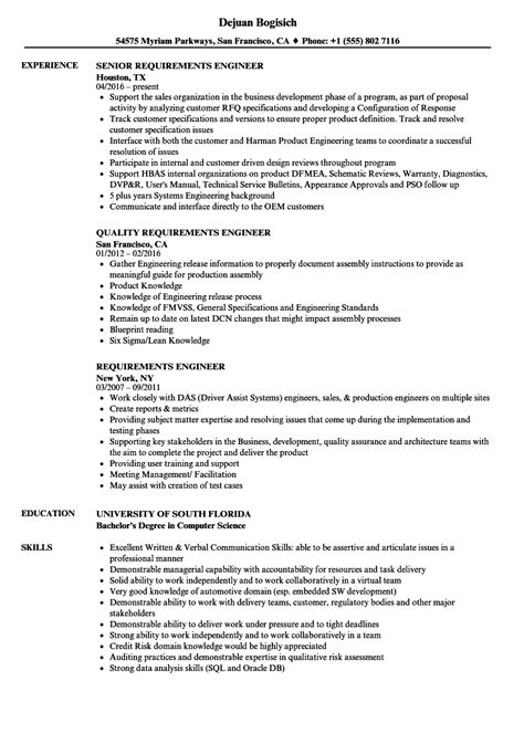 Resume Requirements by Requirements Engineer Resume Sles Velvet