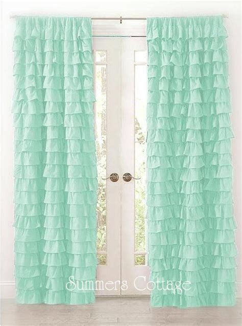 Mint Blue Curtains Shabby Cottage Chic Aqua Dreamy Ruffled Curtain