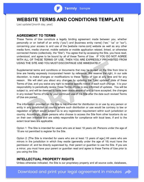Terms Conditions Templates Sles Download For Free Termly Website Terms And Conditions Template