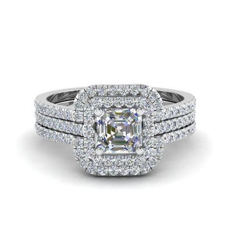 wedding rings square engagement rings bridal trio wedding ring sets