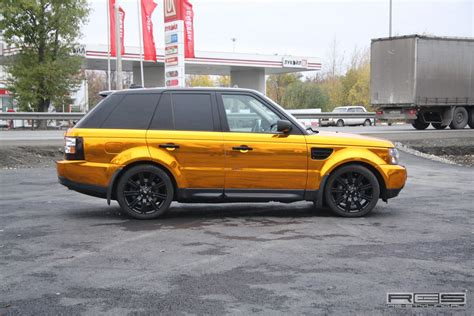gold range rover golden wrap for range rover sport autoevolution
