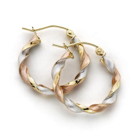 color hoop tri color twist hoop earrings 10k gold