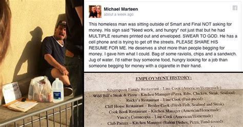 homeless gets rewarded for handing out resumes feels gallery ebaum s world