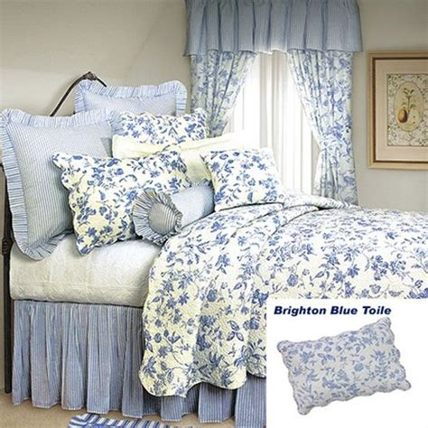 french country toile bedding french country shabby chic brighton blue toile quilt