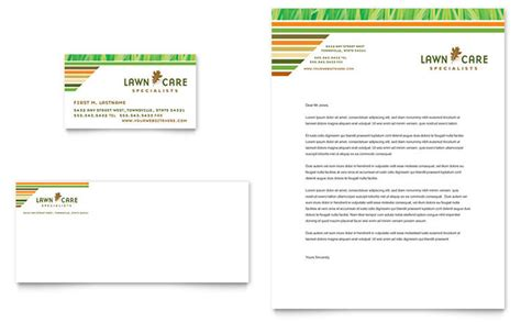 Lawn Care Mowing Business Card Letterhead Template Design Lawn Care Template