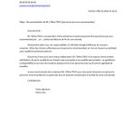 Demande Lettre Recommandation Master Exemple De Lettre De Recommandation Exemples De Cv