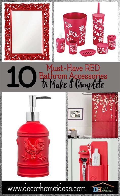 beautiful red bathroom accessories  add accent