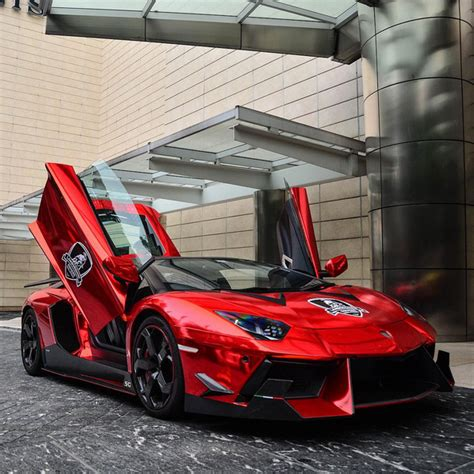red chrome lamborghini chrome red dmc lamborghini aventador