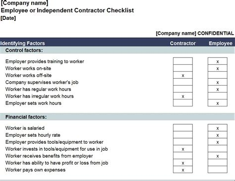 employee or independent contractor checklist template independent contractor checklist independent contractor