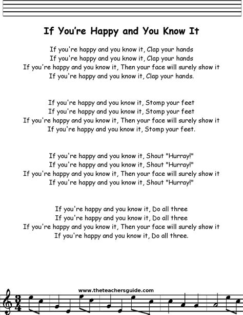 testo in baby if you re happy and you it lyrics printout children
