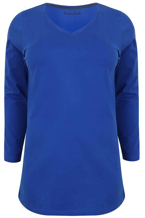 Sleeve V Neck Plain T Shirt cobalt sleeve v neck plain t shirt sizes 16 18 20 22