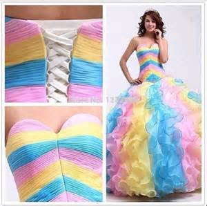 rainbow colored dresses popular rainbow quinceanera dresses buy cheap rainbow