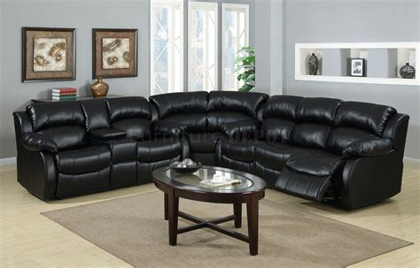 Black Leather Sofa Recliner Large Bold Black Leather Sectional Recliner Sofa And Oval Coffee Table Decofurnish