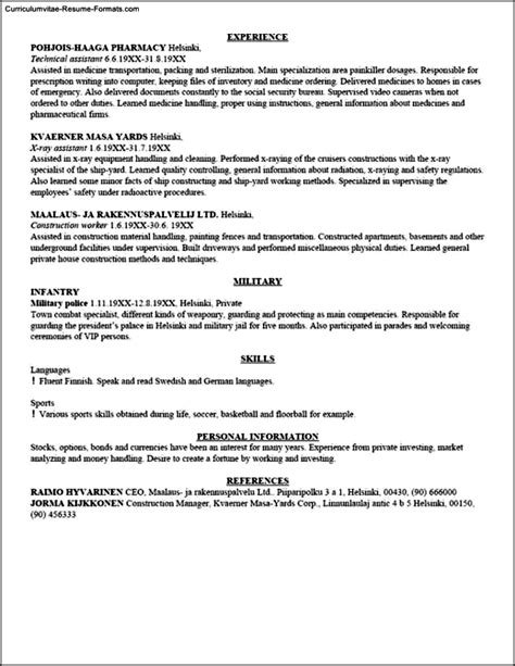 Usa Resume Template by Usa Resume Template Free Sles Exles Format
