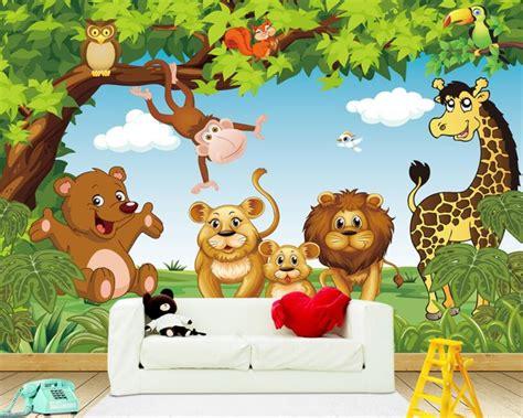 beibehang kustom  wallpaper kartun hewan hutan anak anak
