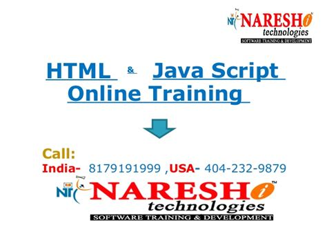 online tutorial for html html online training in hyderabad by nareshit