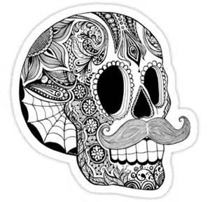 Sticker Stencils For Walls quot mustache sugar skull black amp white quot stickers by tammy