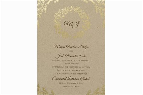 Craft Paper Invitations - fall wedding invitations kraft paper gold foil wedding