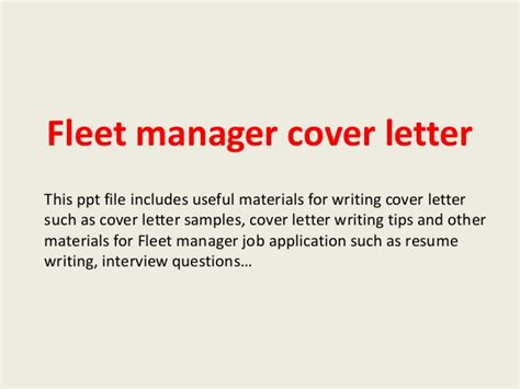Fleet Coordinator Cover Letter by Fleet Manager Cover Letter