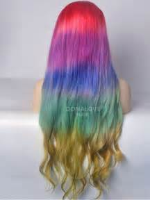 colorful wig rainbow mermaid colorful lace front human hair wig hh041