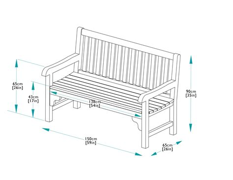 typical bench height 150cm teak park bench bridgman