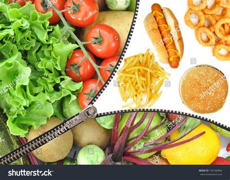 vegetables vs junk food junk food vs fruit vegetables stock photo 154160996