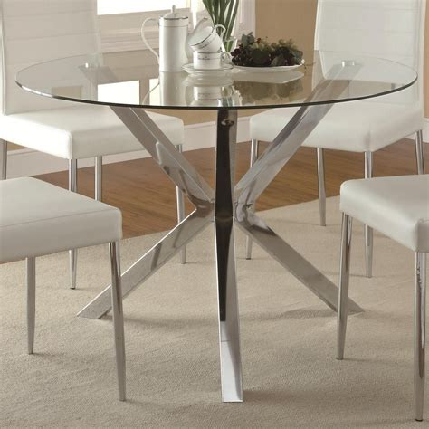 glass chrome dining table coaster vance contemporary glass top dining table with