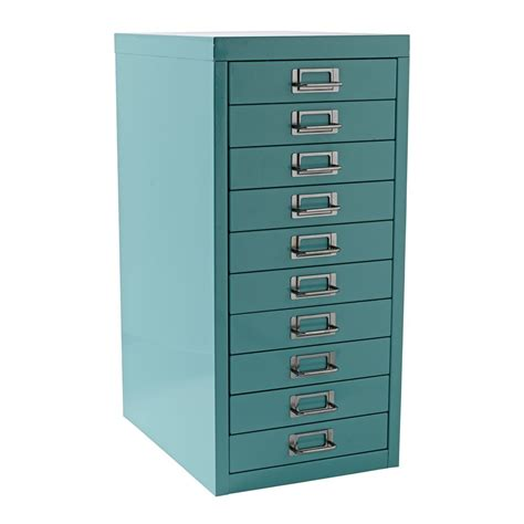 Drawer Storage Cabinet New Spencer 10 Drawer Office Filing Storage Cabinet A4 Aqua With Wheels Ebay