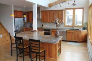 which countertop with light maple flooring and cherry cabinets